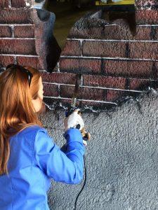 Jess working on ConExpo exhibit