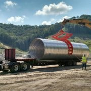 Unloading a large pipe