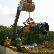 Wright Construction Lifting Wrapped Pipe