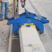 Ajax Paving setting low profile barrier wall