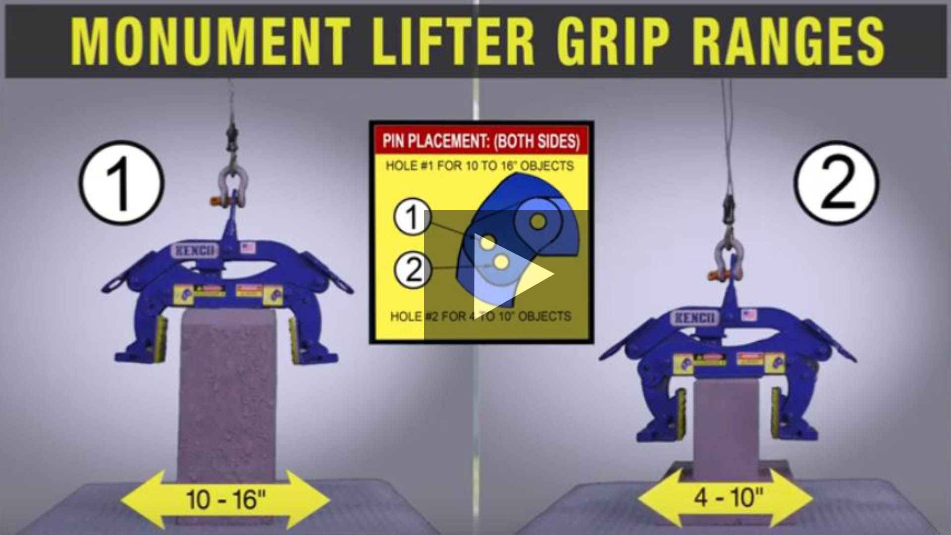 Grip Ranges of Monument Curb Lifter