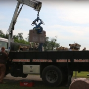 Unloading Tombstone from Truck