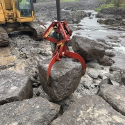 Rocklift Moves Boulders in place for grout