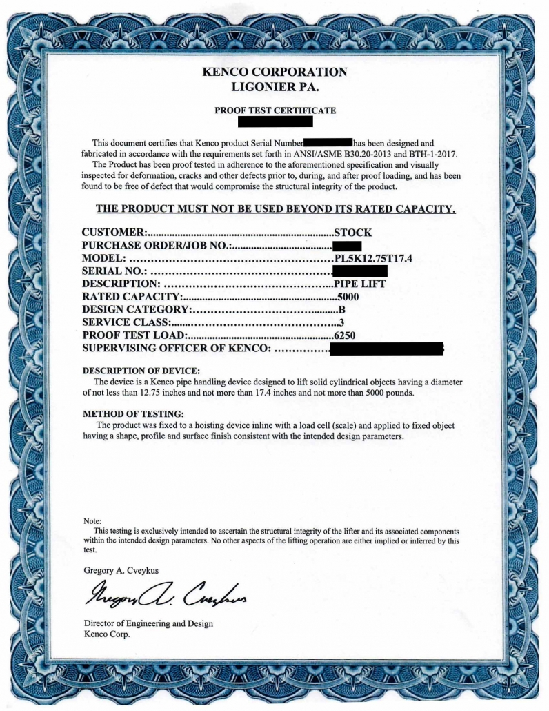 Proof Test Certificate from Kenco