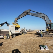 Removing culvert from trailer