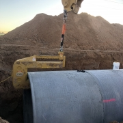 Concrete Pipe Being Set